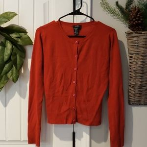 BCBG Max Azria Small Deep Red Button Up Cardigan